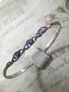 Sterling Silver Triple Amethyst Front Opening Hinged Bangle