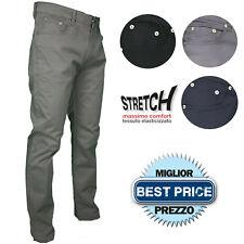 Pantalone Uomo Cotone Gamba Dritta Jeans Estivo Leggero Vita Alta Stretch 46-64