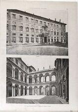 Stampa antica ROMA esterno e interno di Palazzo Borghese 1891 Old print Rome