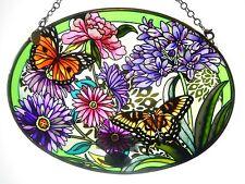 "AMIA STAINED GLASS SUNCATCHER 5.5"" X 7"" OVAL BUTTERFLIES & FLOWERS GARDEN #41374"