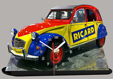 AUTO CITROEN 2CV RICARD-20, OBJET RICARD, EN HORLOGE MINIATURE