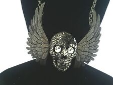 Skull with Wings unique design pendant necklace burnished silver metal