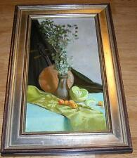 VINTAGE APRICOTS FRUIT HONEYDEW MELON BANJO STILL LIFE  FRAMED OIL ART PAINTING