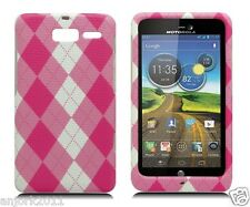 Motorola Droid Razr M xt907 SNAP-ON HARD CASE COVER ACCESSORY PINK CHECKERS