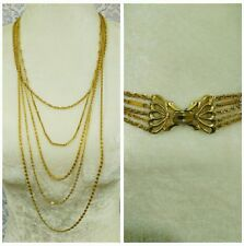 """Vintage 5 Strand Gold Tone Chain Necklace With Butterfly Clasp 26"""""""
