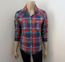 Hollister Womens Plaid Shirt Size Medium Blouse Green & Red Shine