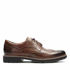 CLARKS Batcombe wing scarpe stringate -Dark Tan Leather Pelle SPECIAL PRICE -50%