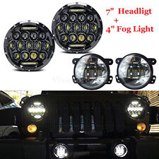 "Pair 7"" LED Headlight Hi/Lo Beam DRL & 4"" Fog Light 30W For Jeep Wrangler JK"