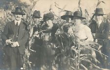 Six People In Corn Field Real Photo Postcard rppc