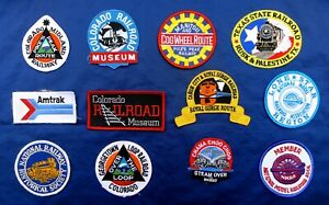 12 UNITED STATES RAILROAD CLOTH PATCHES: AMTRAK, COLORADO, TEXAS, MUSEUMS & ETC