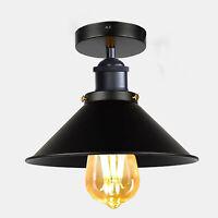 Industrial Semi-Flush Mount Ceiling Filament Light Metal Lamp Shade Light Black