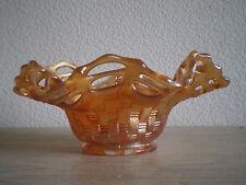 CORBEILLE VIDE POCHE VERRE MOULE IRISE AJOURE DECO 1930 ART TABLE VINTAGE GLASS