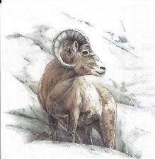 Lot de 4 Serviettes en papier Faune des Montagnes Mouflon Marmotte Decoupage