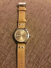 Oozoo oversized watch with sand coloured leather strap