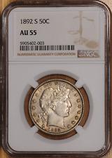 1892-S NGC AU55 Barber Half Dollar Nice Original Coin