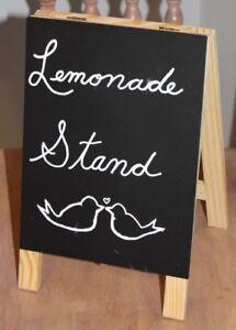"10 1/4"" x 6.5"" Wedding Party Mini Chalk Board LEMONADE STAND Love Birds Heart"