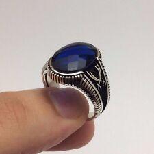 Turkish Ottoman Jewelry Zulfiqar Sword Navy Blue 925K Sterling Silver Men's Ring