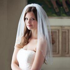 Bridal Boda Velo Marfil 1 niveles con Peine Hecho a Mano Perlas y perlas de borde