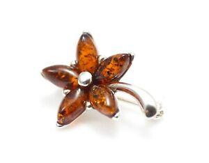 Natürliche Baltischen Bernstein Sterling Silber 925 Brosche Blume zertifiziert & Geschenkbox