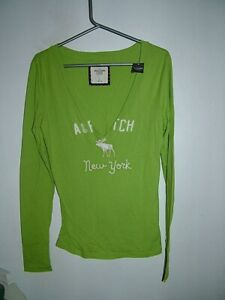 Green Lime Top 14 Abercrombie & Fitch New with Tags, v neck, long sleeves, logo