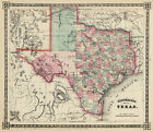 1866 Schönberg's Early Map of Texas Historic Map 20x24