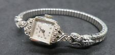 Vtg Bulova 14K White Gold w/ 6 Diamonds 23 Jewel Ladies Wristwatch Sterling Band