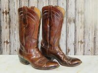 Men's Lucchese 6383 Brown Leather Western Cowboy Boots Size 9.5