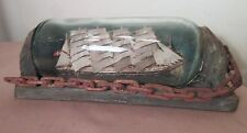 rare antique 1800's handmade folk art nautical wood ship in bottle sculpture old