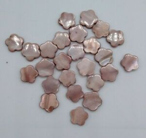 28pc Mother of Pearl MOP Beads; Light Brown 15mm Flat Flower Shape; ONLY ONE