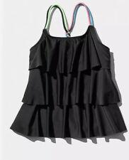 New! Justice Tiered Tankini Swim Top Black/rainbow Strap Size 6