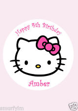 "HELLO KITTY PERSONALISED BIRTHDAY CAKE TOPPER EDIBLE  ICING SUGAR 7.5"" PINK"