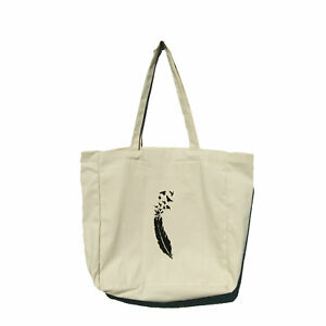 Cotton tote shopping bag Hand Painted with compartments