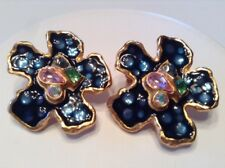 Coloured Crystal Earrings Gold Plated Vintage Signed Christian Lacroix Jewelry