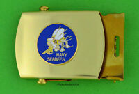 SEABEES Web Belt & buckle - brass buckle & tan khaki belt - USN Seabees
