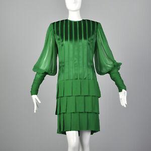Small Galanos 1980s Emerald Green Silk Dress Vintage Designer Kelly Drop Waist