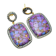Purple Turquoise Gemstone Oxidized 925 Sterling Silver Dangle Earrings