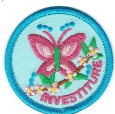 Girl INVESTITURE Blue butterfly Ceremony Fun Patches Crest Badge SCOUTS GUIDE