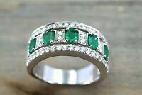 3Ct Emerald Cut Green Emerald Half Eternity Wedding Ring 14K White Gold Finish