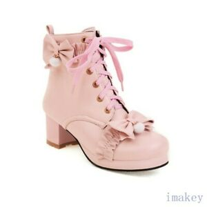 Women's Lolita Round Toe Lace-up Bow Block Heels Pumps Ankle Boots Casuals Shoes