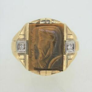 10k Yellow Gold Men's Carved Tiger's Eye Soldier Profiles Signet Ring Sz 12 3/4