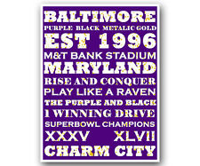 "Baltimore Ravens Art Poster NFL Football Subway Print 12x16"""