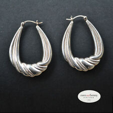 *Vintage 80's Hollow Sterling Silver Twisted Hoops Earrings BEAUTIFUL