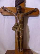 CHRIST ANCIEN SCULPTURE XVIII ème SIÈCLE CRUCIFIX CROIX BOIS OLD 18 RELIGIEUX