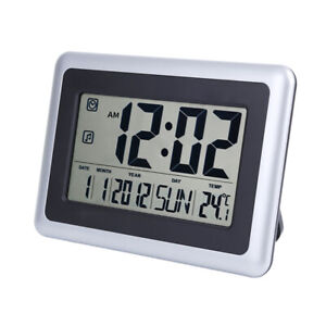 LCD Digital Wall Alarm Clock Large Display w/ Indoor Temperature Date and Day