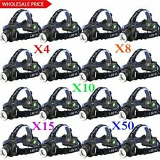 LOT 8000LM Tactical T6 LED Headlamp Zoomable Focus HeadLight Lamp Torch 18650 US