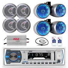 "Silver 8"" Tower Speaker LED Set, 6.5"" Speakers,Antenna, Boat Bluetooth USB Radio"