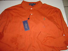 "NEW MENS RALPH LAUREN BURNT ORANGE W/OLIVE POLO ""INTERLOCK"" L/S POLO SIZE XL"