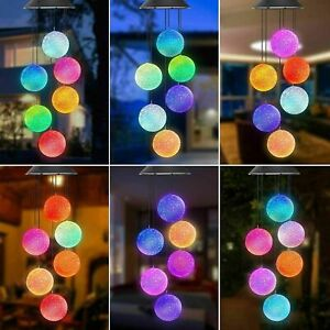 Hanging Colour Changing Solar Powered LED Ball Chimes Lights Garden Outdoor UK
