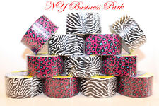 12 Duct Tape Assorted Color ZEBRA & LEOPARD Tear Easily Resists Breaking Durable