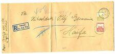 PALESTINE  BRITISH MIL. OCCUP. 1938 TIBERIAS FOLDED CV TO HAIFA